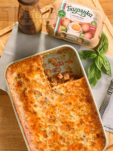 Вкусна класическа картофена мусака с кайма и заливка с яйца Багрянка - снимка на рецептата